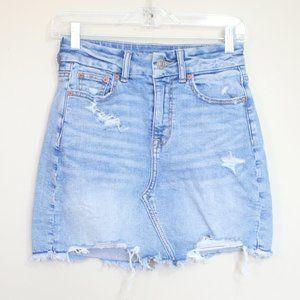 AE light wash distressed mini denim jean skirt